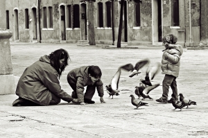 Kids playing on San Bernardo square