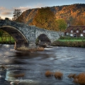 the famously photographed Llanrwst Tea House near the old bridge in Wales