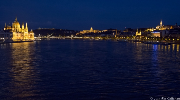 View of the Danube in Budapest at night