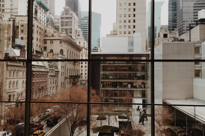 looking thru the back window at Moma in New York City