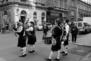 Bagpipers on St. Patrick's day in Budapest Hungary