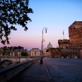 early morning light hits St. Peter's bascilica in Rome, Italy