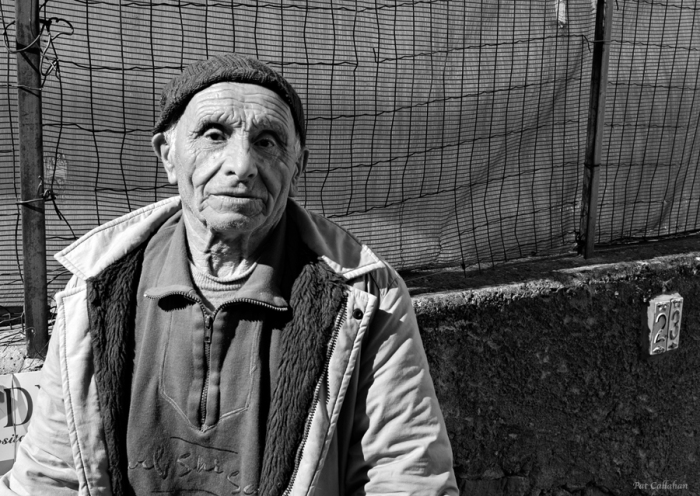 Old man poses for pictures in Nocelle Italy