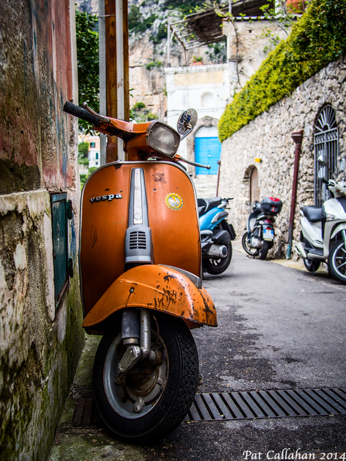 old vespa on the streets of Montepertuso Italy