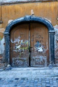 Ancient door on Kapitulska Bratislava Slovakia