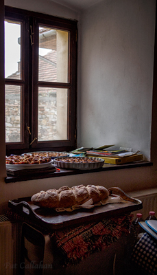 fresh backed tarts and breads in Mad Hungary cooling on the window sill