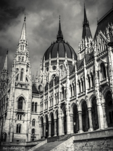 Budapest Parliament Dome in Black and White