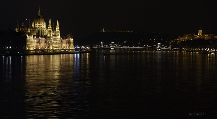 Budapest Hungary Parliament at night from the Margaret Bridgel
