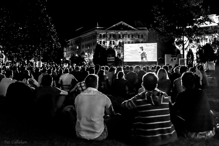 A crowd in Szabadsag Ter watches the World Cup in Budapest Hungary