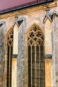 Ancient windows of Saint John the Evangelist in Old Town Bratislavan