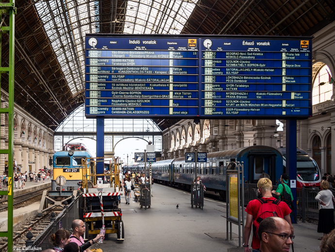 Train Schedule Board at Keleti in Budapest Hungary