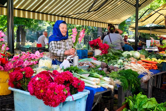 flowers at hunyadi market budapest hungary