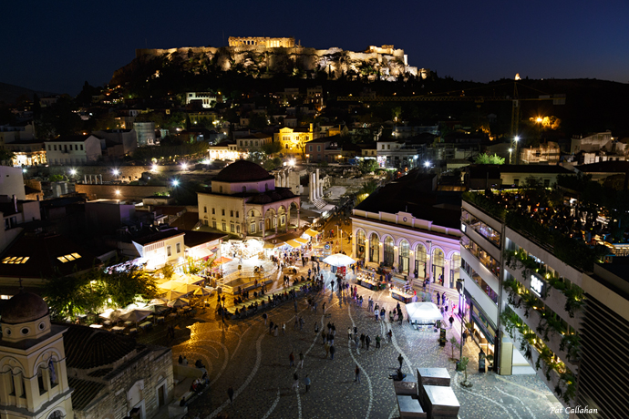 Plaka area and Acropolis from A for Athens rooftop bar