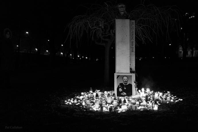 Candles light in Szent Istvan Park Budapest