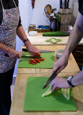 Chopping peppers