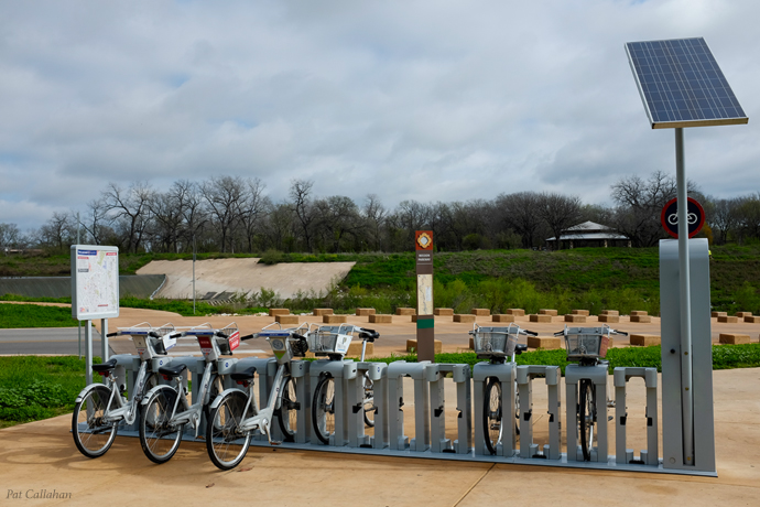The B cycle stands are all along the trail
